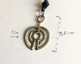 925 Silver tribal pendant, handmade, unique, unisex