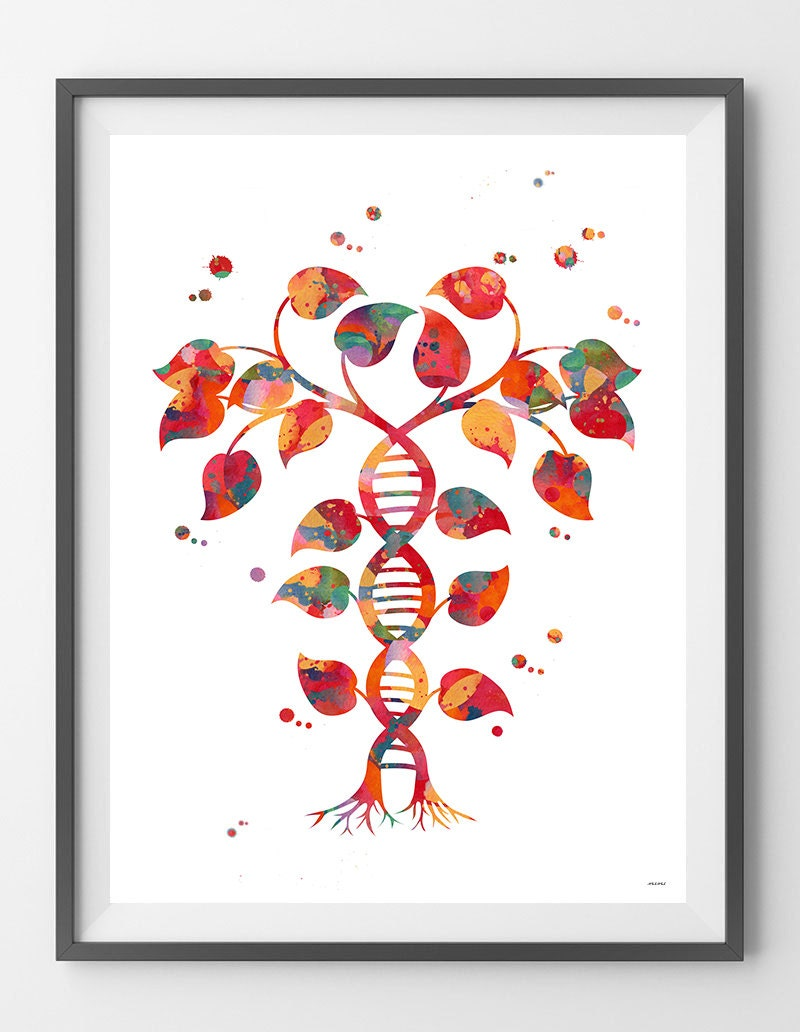 Dna tree of life watercolor print dna double helix abstract for Personalized dna art