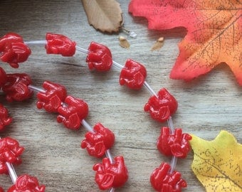 "1 Strand  Red 15"" Plastic Elephant Spacer Charms Loose Beads DIY Supplier For Handcarfts Bracelets"