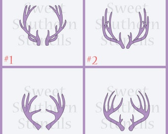 Deer Antler Cookie Stencils (4 separate stencils to choose from)
