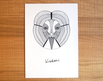Owl of Wisdom // Geometric Print // Black and White Home Decor // Digital Print // Wall Art