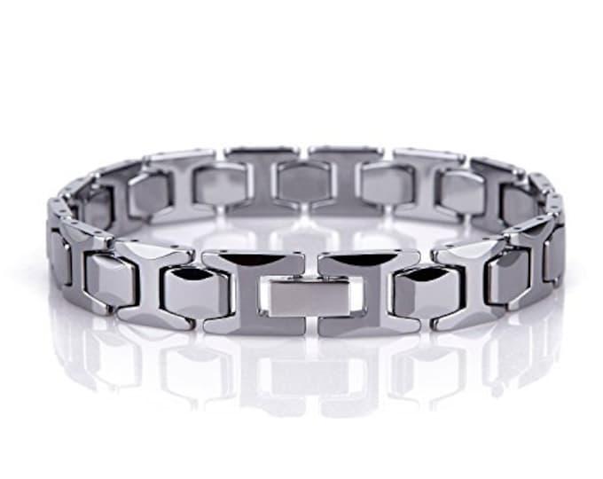 8.5 Inch Men Unisex H Design Bracelet Tungsten Carbide H Link - 216 mm (8.5 inch)
