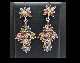 Sterling Silver & Sapphires pierced post dangle Earrings 11 grams