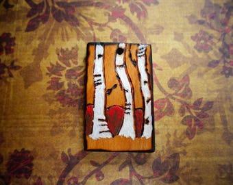 Pyrography Pendant - Aspen Tree Pendant - White Tree Pendant - Woodburned Pendant - Handmade Pendant - Painted Pendant - Rectangular Pendant