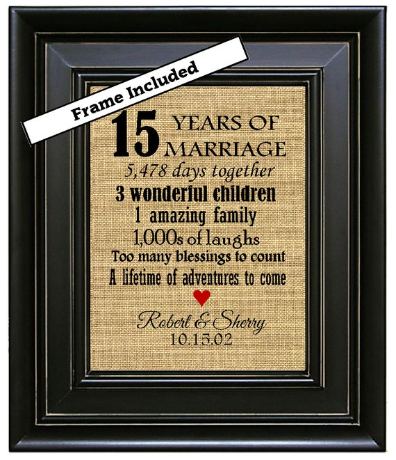Crystal Gift Ideas 15th Wedding Anniversary: FRAMED Personalized 15th Wedding Anniversary Gift/15th