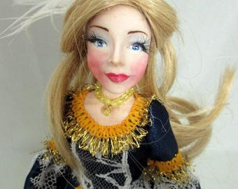 Unique handmade OOAK polymer clay doll-Lady-1700