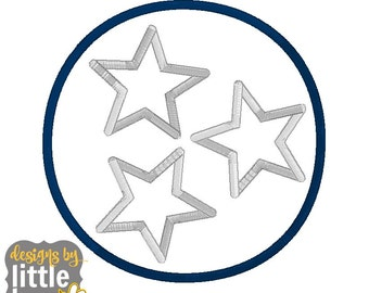 State of Tennessee symbol circle with stars tristar logo machine embroidery applique design. United States simple 4x4 5x7 6x10 11 11 2017