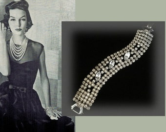 Glamorous Mid Century Vintage Weiss Rhinestone Bracelet, Perfect Bling for the Holidays