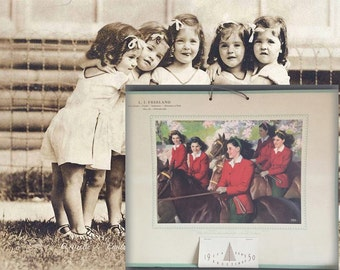 Rare Authentic Vintage 1950s Dionne Quintuplets On Horseback Sweet Sixteen Wall Calendar