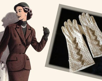 Elegant Vintage Ivory Cotton Gold Beaded Gloves, Circa 1960s