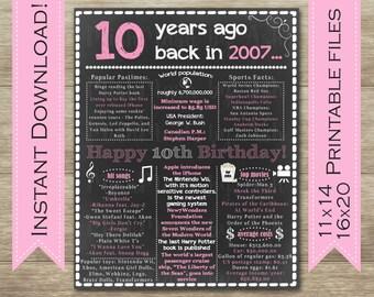 10th Birthday Sign, 10th Birthday Poster, 2007 Birthday Sign, Back in 2007, Happy 10th Birthday, 10 Years Ago, 10th Birthday Party Decor