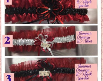 Red Satin Or Organza Wedding Or Prom Garters