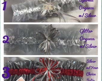 Silver/ Grey Wedding or Prom Garters