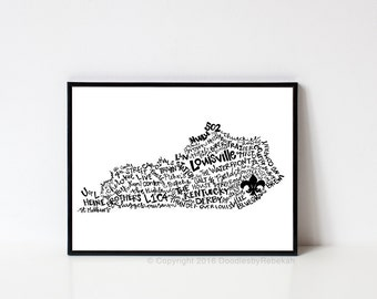 Hand lettered LOUISVILLE Kentucky Word Art Print // 8x10