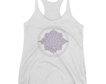Lotus Mandala Purple Tank Top Shirt Womens Zen Design