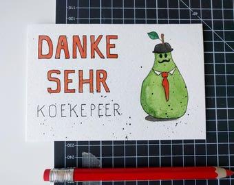 Kaart Danke sehr koekepeer - origineel handpainted