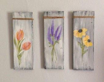 Distressed Flower Paintings