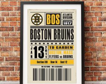 Boston Bruins Retro Ticket Print