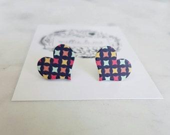 Wooden heart stud earrings