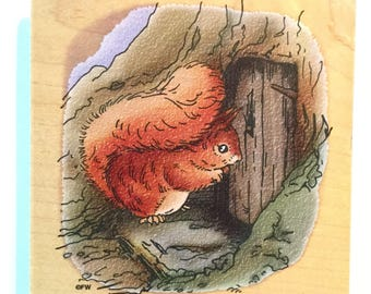 "Like New Beatrix Potter Squirrel Nutkin Large 4"" Stampendous Rubber Stamp"