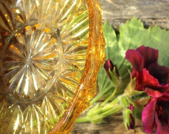 Cut Glass Dish - Vintage Amber - Pristine Condition