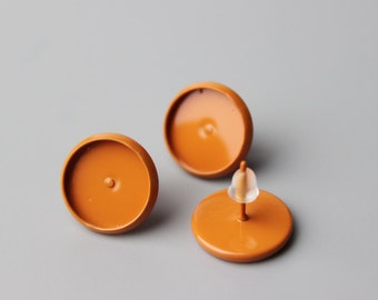 20/100pcs Orange color paint  Earring kit 10mm 12mm Stud Post Earring Setting Bezel Orange color paint Earring Cabochon Settings Bases