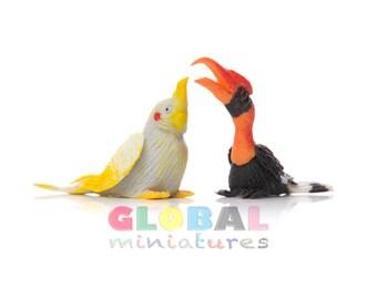 Dollhouse Miniatures Pair of Budgerigar and Hornbill Bird