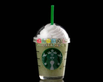 Dollhouse Miniatures Clear Plastic Glass of Starbucks Green Tea Cream Frappe Closed with Dome Cap and Straw Drinks Coffee - 1:12 Scale