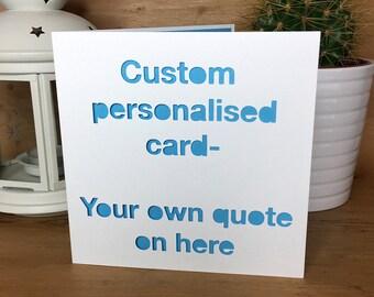 Personalised Card, Birthday Card, Anniversary, Christmas  Card, wife card, husband card, girlfriend, boyfriend, custom made card, fun