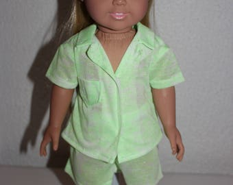 Doll Pajamas,Summer Doll PJs,Doll Clothes,18 inch Doll Pajamas,Doll
