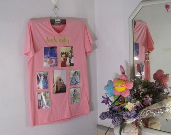 Photo Frame on T-Shirt(Old Rose Color)-New Trend Wall Decorate-Idea for Home Decor