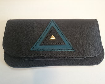 Black Leather Clutch/Wallet with Triangle Design