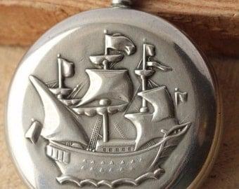 Vintage Molnija Soviet pocket watch 3602 Sailfish Ship Collecting  Gift For father , husband , grandfather ж