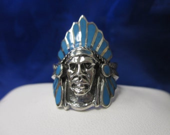 Sterling Silver and Enamel Native American Chief Ring