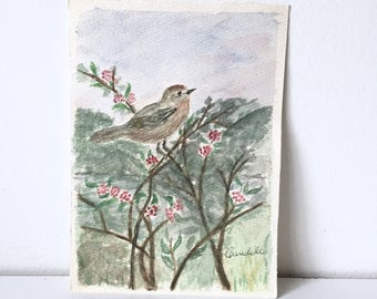 Vintage Watercolor on paper with bird and trees, 5x7 Unknown artist