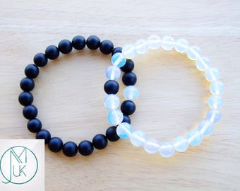 Couple Opalite/Onyx Natural Gemstone Bracelet Beaded 7-8'' Elasticated Healing Stone Chakra Reiki With Pouch FREE UK SHIPPING