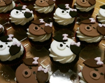 Puppy fondant cupcake toppers, set of 12