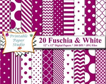 Fuschia Digital Paper Pack, Dark Pink Paper for Cardmaking, Pink Purple Scrapbook Paper 12x12, Patterned Paper, Instant Download File