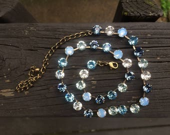 Lakeside Swarovski crystal necklace blue air blue opals brass setting