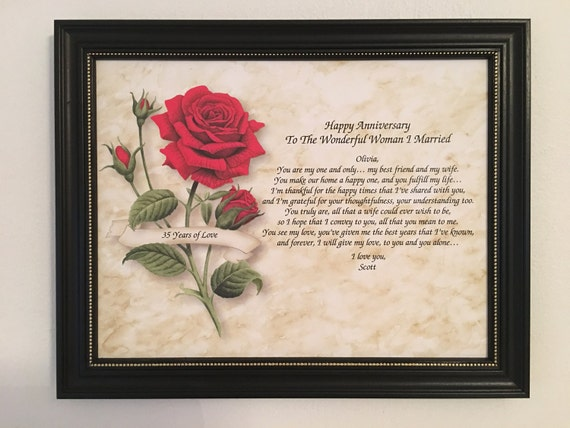 35th Wedding Anniversary Gifts For Wife: 35th Anniversary Gift For Wife Love Poem Personalized