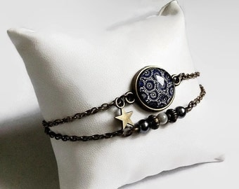 bronze bracelet * Navy Blue washi paper * Japanese flowers, glass cabochon