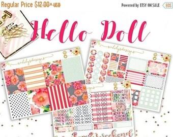 50% OFF HELLO DOLL Sticker Week Set // Erin Condren // The Happy Planner // Sticker Kit // Spring Stickers