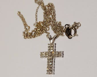 "14k White Gold Chain & Genuine Diamond 3/4"" x 1/2"" 4mm w. Cross Pendant Necklace."