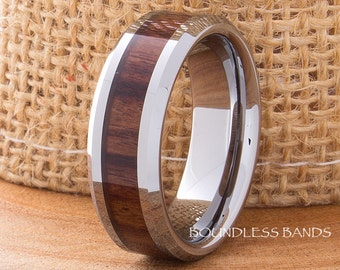 Tungsten Ring Wood Inlay Wedding Band 8mm Beveled Edges Tungsten Band Hers His Women's Men's Ring Anniversary Ring Promise Ring Comfort Fit