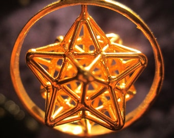 Solar Spirit Star with Spin ※ Sacred Geometry 3D Pendant Silver + Gold * Dodecahedron Star * Pentagram * Phi Harmony * Golden ratio mandala