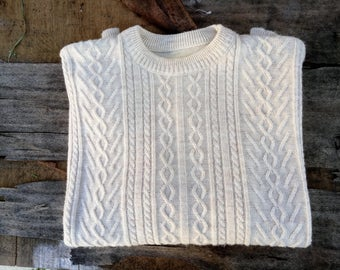 Mens Sweaters , Vintage mens Sweater, 70s Mens Sweater ,Mens, Cream Cozy Sweater, Vintage Coat, 1970s Sweater, Winter,  70s, 1970 Sweater