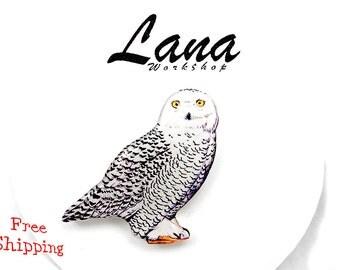Owl brooch, FREE SHIPPING Snowy owl brooch, owl jewelry, owl clay, owl pin, White Owl, clay bird, bird jewelry