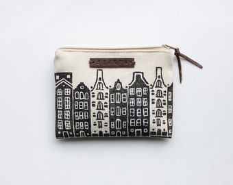 Small Amsterdam Zipper Jewelry Pouch, Pencil Case, Cosmetic bag with handmade print