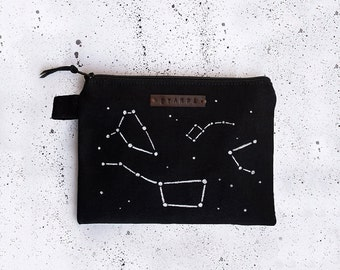 Space Constellations Zipper Pouch, Pencil Case, Cosmetic bag with handmade print