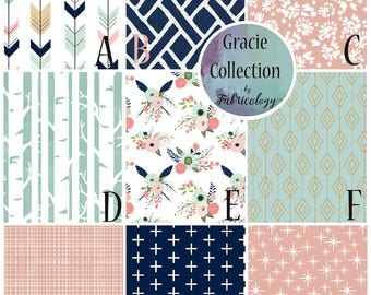 Custom Nursery Set / Crib Set / Baby Girl Bedding - Gracie Collection by Fabricology - Modern / Floral / Navy / Coral / Mint / Woodland
